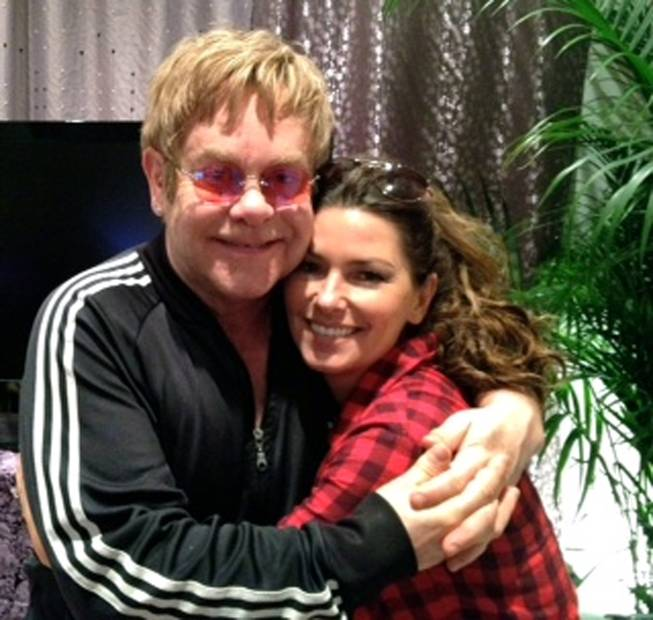 Sir Elton John and Shania Twain backstage at the Colosseum in Caesars Palace.