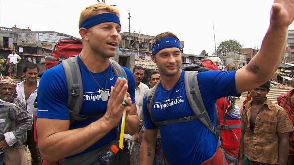 "Jaymes Vaughan and James Davis compete on CBS' ""The Amazing Race"" on Sunday, Oct. 28, 2012."