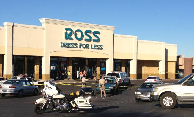 Police have an area cordoned off near the Ross Dress for Less store at 2420 E. Desert Inn Road, where an officer-involved shooting occurred Monday afternoon, Oct. 29, 2012.