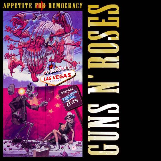 This version of the Guns n' Roses' banned album cover is being used to promote its residency at Hard Rock Hotel's Joint. A more explicit version of the artwork, used on its website, depicts the woman with a breast exposed and her underwear below her knees which, critics say, strongly suggests sexual assault.