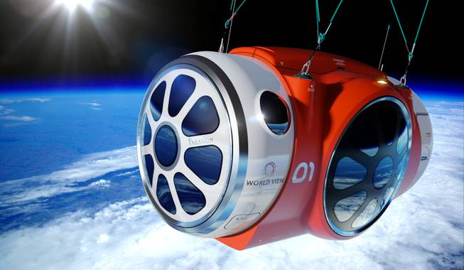 An artist's rendering provided by World View Enterprises shows a capsule lifted by a high-altitude balloon up 19 miles into the air. The price to spend a couple hours looking down at the curve of the Earth: $75,000.