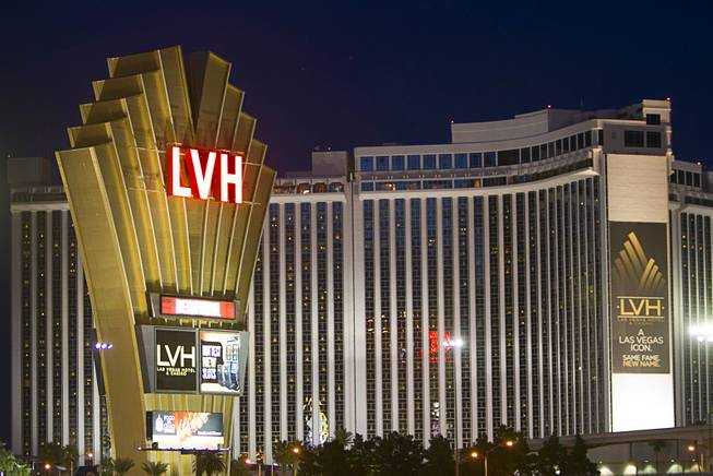 An exterior view of LVH, or Las Vegas Hotel, formerly the Las Vegas Hilton, on Wednesday, Oct. 31, 2012.
