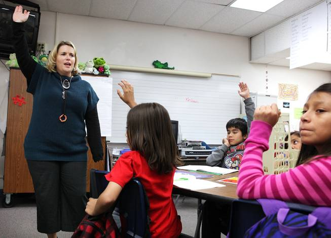 Writing teacher Manda Kristof teaches a fifth grade class at Ferron Elementary School in Las Vegas on Wednesday, October 31, 2012.