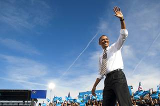 President Barack Obama arrives at a campaign rally at the Cheyenne Sports Complex near the College of Southern Nevada in North Las Vegas Thursday, Nov. 1, 2012.