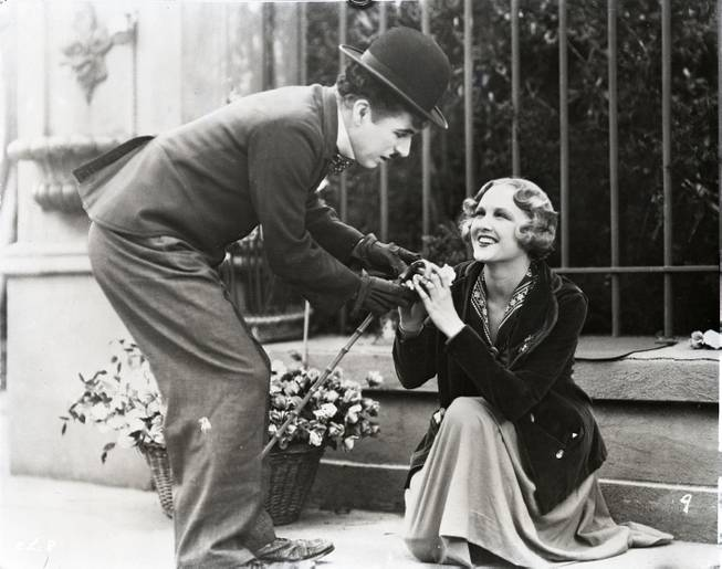 "Charlie Chaplain and Virginia Cherrill in ""City Lights."""