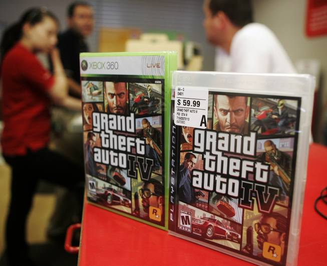 Cases of the video game Grand Theft Auto IV are displayed at a Best Buy store in West Hollywood, Calif., April 29, 2008.