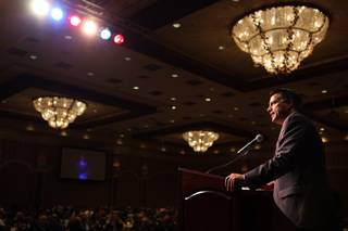 Governor Brian Sandoval delivers the keynote address during the Governor's Conference on Small Business at the Orleans on Friday, November 2, 2012.