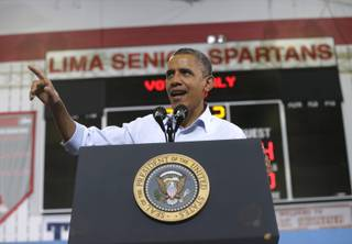 President Barack Obama gestures as he speaks during a campaign event at Lima Senior High School, Friday, Nov. 2, 2012, in Lima, Ohio. (AP Photo/Pablo Martinez Monsivais)