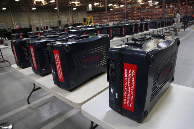 The Clark County Elections Office in North Las Vegas is filled with voting equipment Saturday, Nov. 3, 2012.