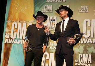 Kenny Chesney and Tim McGraw at the 46th Annual County Music Association Awards in Nashville on Thursday, Nov. 1, 2012.