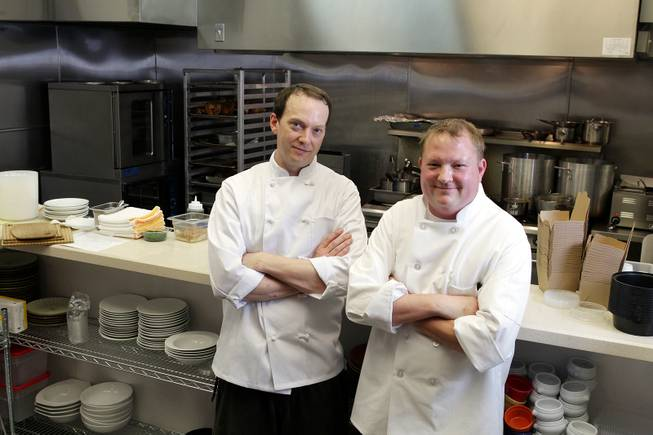 Chefs Brian Lafferty, left, and Chris Herrin at Meat & Three in Henderson on Monday, November 5, 2012.
