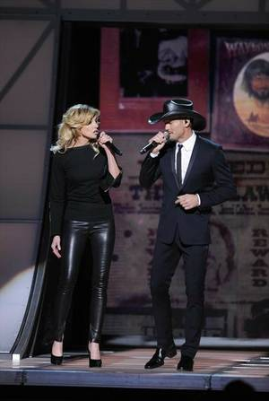 Faith Hill and Tim McGraw perform at the 46th Annual County Music Association Awards in Nashville on Thursday, Nov. 1, 2012.