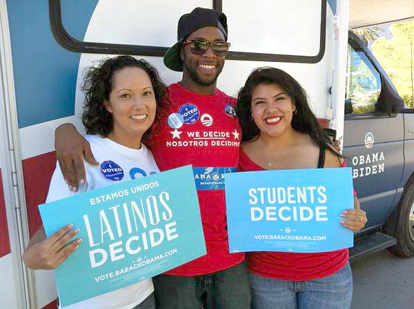Candice Morris, left, poses with fellow UNLV students and Obama campaign volunteers Dante Dumas and Meghan Garibay after casting their 2012 general election ballots.