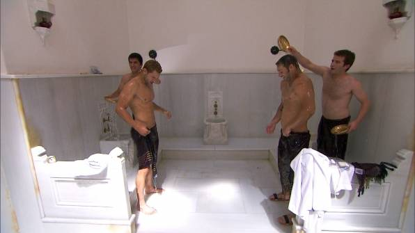 "Team Chippendales' Jaymes Vaughan and James Davis at a Turkish bathhouse on CBS' ""The Amazing Race"" on Sunday, Nov. 4, 2012."
