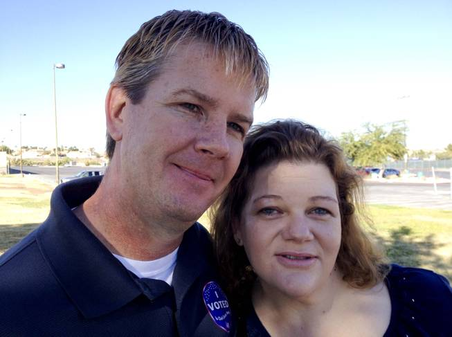 James and Jennifer Lampier at the polls on election day in Henderson, NV, Tuesday, Nov. 6, 2012.