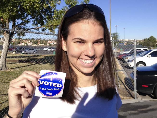 Laura Gould at the polls on election day in Henderson, NV, Tuesday, Nov. 6, 2012.
