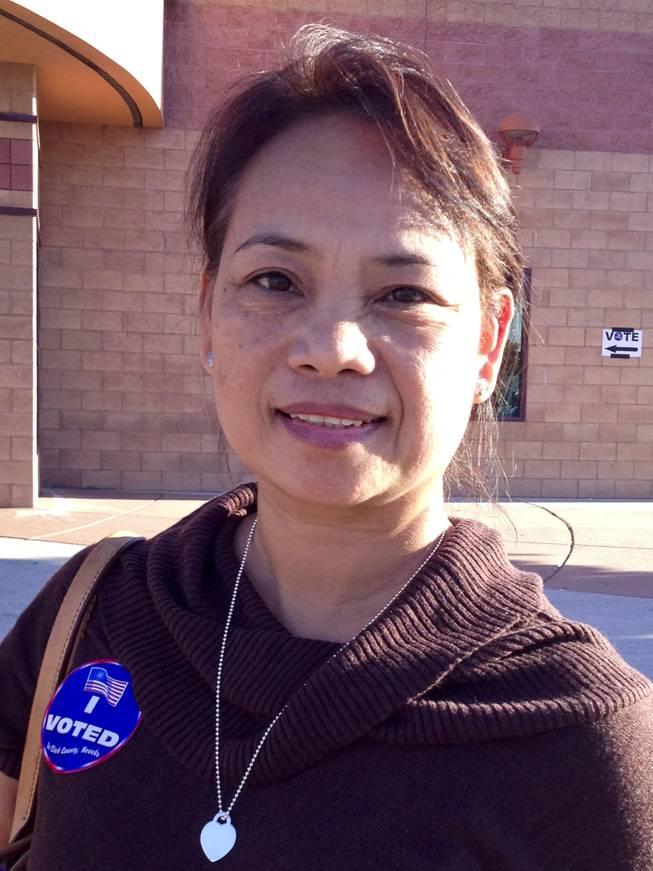Doris Nay at the polls on election day in Las Vegas, NV, Tuesday, Nov. 6, 2012.