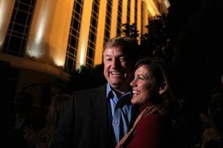 Sen. Dean Heller, R-Nev., with his Lynne, right, talks to the media after his victory at the Palazzo in Las Vegas after midnight on Wednesday, November 7, 2012.