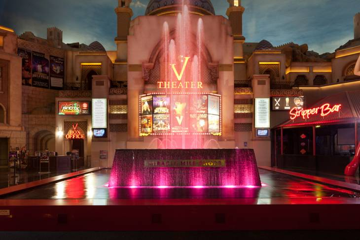 The Miracle Mile Shop's fountain goes pink for October breast cancer awareness month.