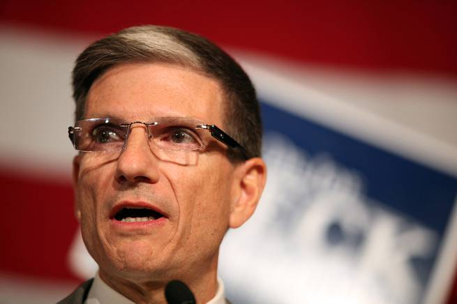 U.S. Rep. Joe Heck, R-Nev. gives a victory speech during a GOP election night watch party at the Venetian in Las Vegas on Tuesday, November 6, 2012.