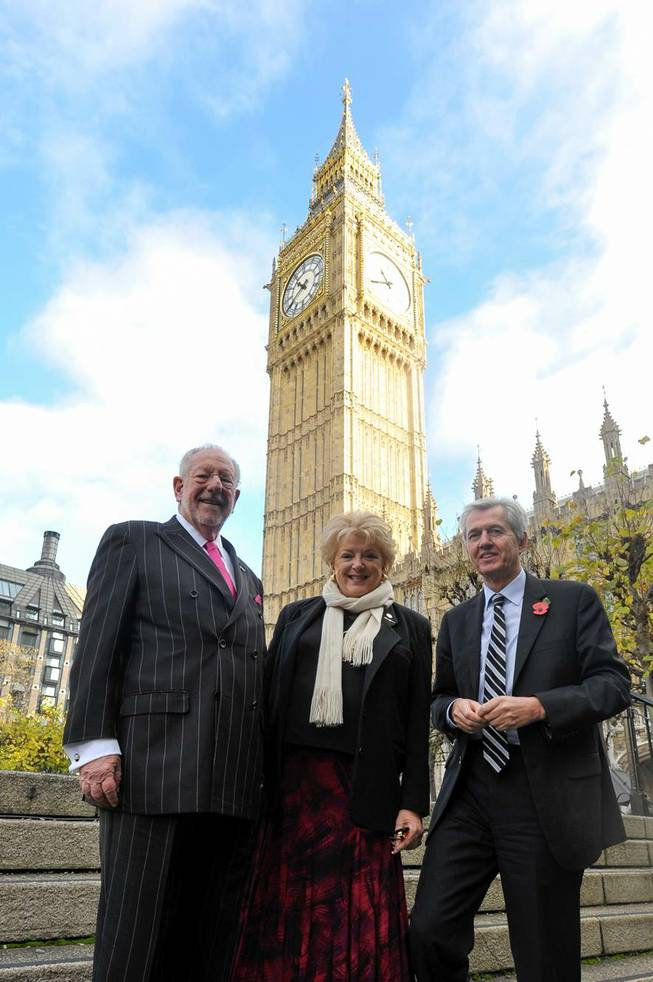 Oscar Goodman, Mayor Carolyn Goodman and Member of Parliament Nick de Bois in London.