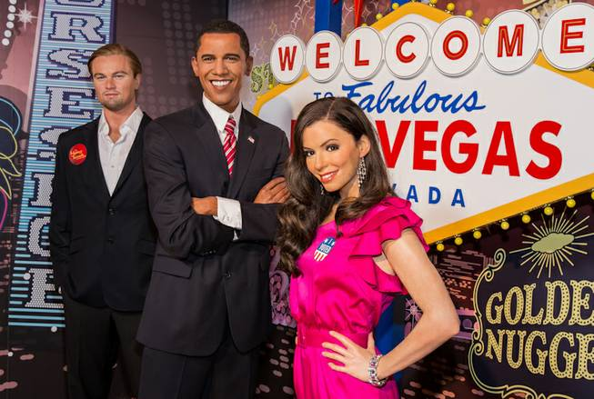 Wax figures of Leonardo DiCaprio, President Barack Obama and Eva Longoria at Madame Tussauds in the Venetian.