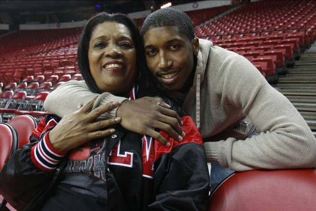Carmen Hawkins and her son, UNLV basketball guard Justin Hawkins, are seen Wednesday, Nov. 7, 2012.
