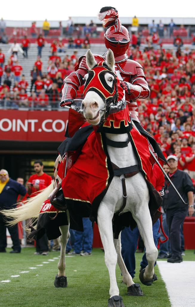 The Rutgers Scarlet Knight enters the stadium before the start of their NCAA college football game against Kent State in Piscataway, N.J., Saturday, Oct. 27, 2012. Kent State upset nationally ranked Rutgers 35-23.