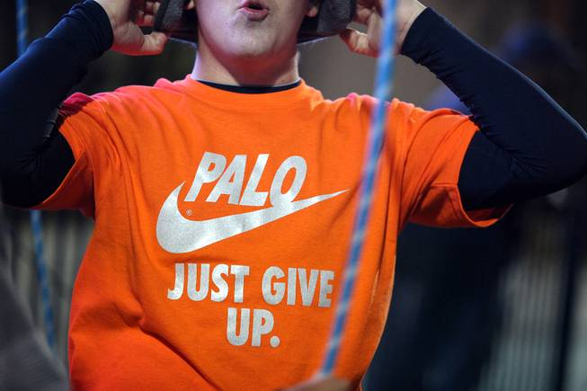 A Bishop Gorman student sports a rivalry tee-shirt during the Sunset Regional semifinals against Palo Verde at Bishop Gorman High School in Las Vegas on Friday, November 9, 2012.