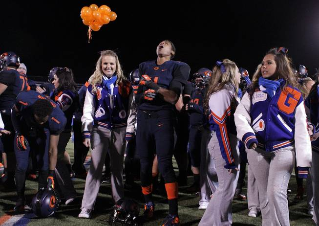Bishop Gorman celebrates their victory over Palo Verde after the Sunset Regional semifinals at Bishop Gorman High School in Las Vegas on Friday, November 9, 2012.
