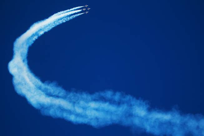 The Air Force Thunderbirds perform during the annual Aviation Nation air show at Nellis Air Force Base Saturday, Nov. 10, 2012.