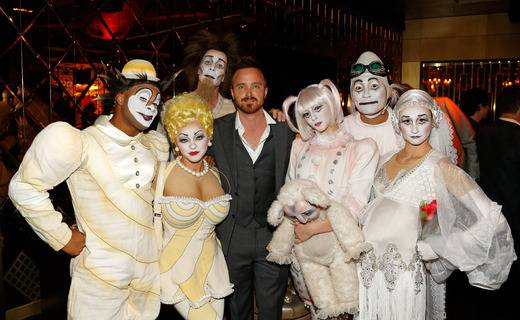 "Aaron Paul attends the premiere of Cirque du Solei's ""Zarkana"" in Aria on Friday, Nov. 9, 2012."