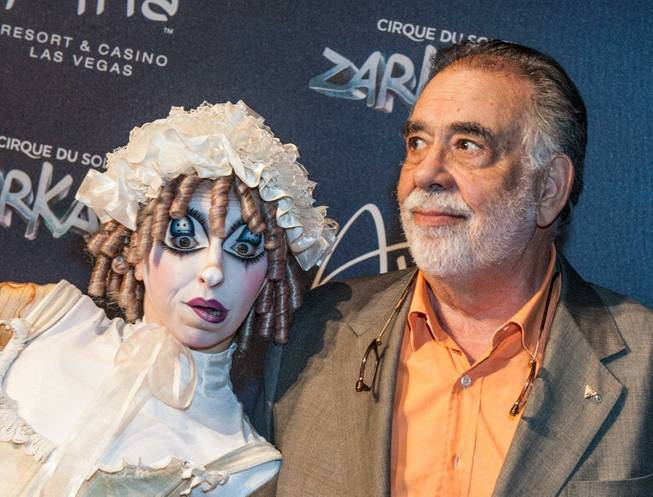 "Francis Ford Coppola attends the red carpet grand opening of Cirque du Soleil's ""Zarkana"" at Aria on Friday, Nov. 9, 2012."