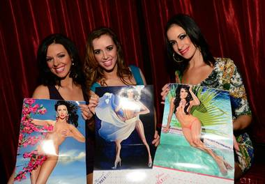 "Tracey, Mariah and Yesi at the 2013 ""Fantasy"" calendar release party at LAX in the Luxor on Saturday, Nov. 10, 2012."