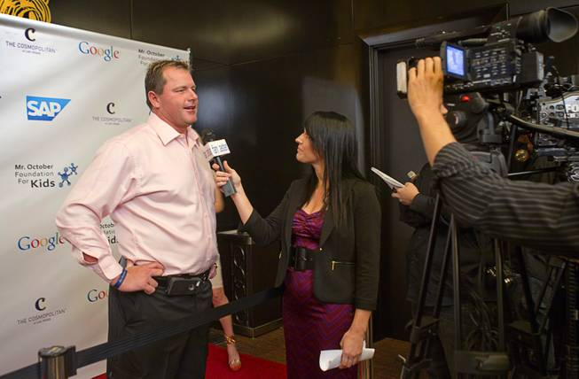 Former MLB  pitcher Roger Clemens is interviewed during Reggie Jackson's 8th All-Star Celebrity Classic at the Cosmopolitan Sunday, Nov. 11, 2012. The event raised funds for the Mr. October Foundation for Kids, a charity that supports minority students pursuing education in science and technology.