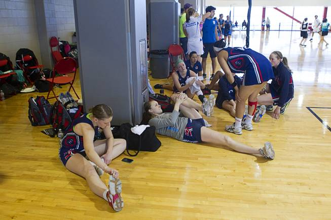 Members of Team USA stretch out in preparation for their next game during the 2012 CallidusCloud U.S. Open Netball Championships at UNLV campus Sunday, November 11, 2012.