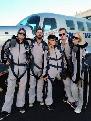 Paris Hilton and friends go skydiving.