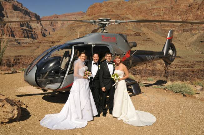 Maverick Grand Canyon helicopters double wedding at Grand Canyon.