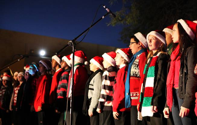 Schofield Middle School and Coronado High School students sing holiday songs during Ethel M Chocolates 19th Annual Holiday Cactus Lighting in Henderson on Tuesday, November 13, 2012.