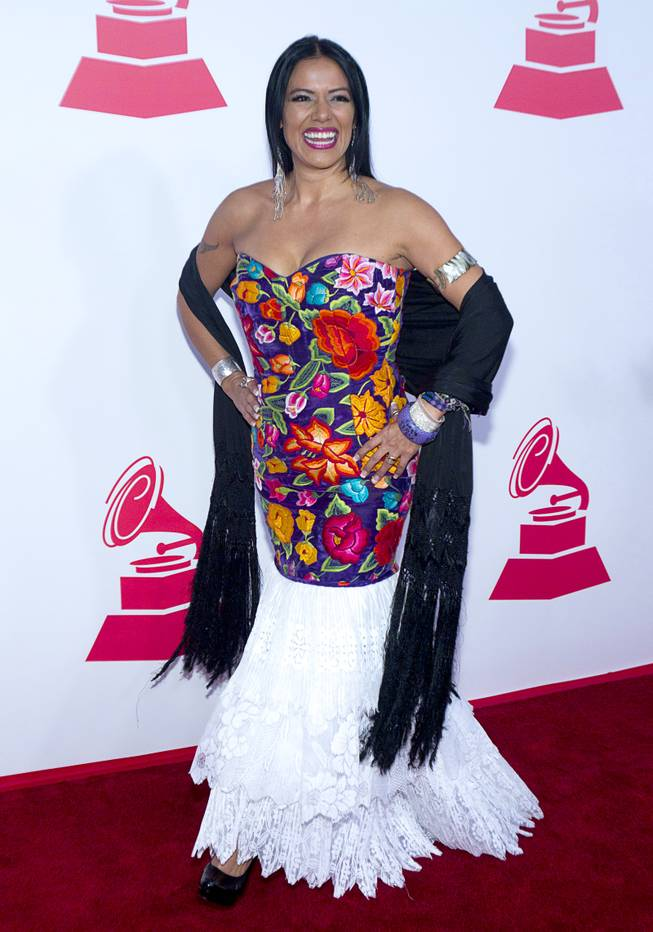 Singer Lila Downs arrives for the 2012 Latin Recording Academy Person of the Year tribute dinner and concert honoring Caetano Veloso at the MGM Grand Garden Arena in Las Vegas, Nevada November 14 , 2012.