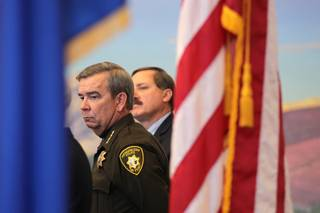 Sheriff Doug Gillespie stands during a press conference held by the U.S. Department of Justice Office of Community Oriented Policing Services at the Lloyd George Federal Building in Las Vegas on Thursday, November 15, 2012. The press conference was regarding an eight-month review of Las Vegas Metropolitan Police Department's use of force policies and practices.
