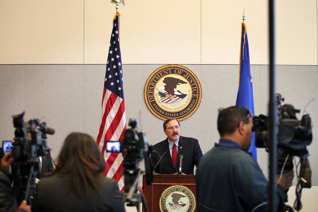 Nevada U.S. Attorney Daniel Bogden speaks during a press conference held by the U.S. Department of Justice Office of Community Oriented Policing Services at the Lloyd George Federal Building in Las Vegas on Thursday, November 15, 2012. The press conference was regarding an eight-month review of Las Vegas Metropolitan Police Department's use of force policies and practices.