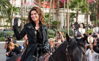 Shania Twain arrives horseback at Caesars Palace on Wednesday, Nov. 14, 2012.