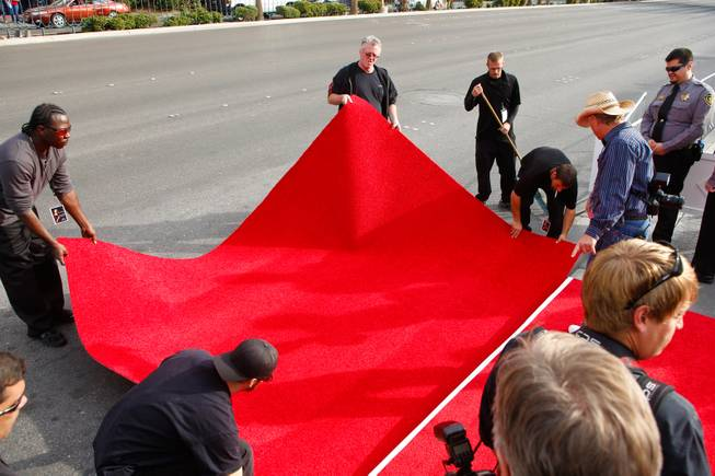 The red carpet is being prepared for Shania Twain's grand entrance at Caesars Palace to kick off her two-year residency, Wednesday, Nov. 14, 2012.