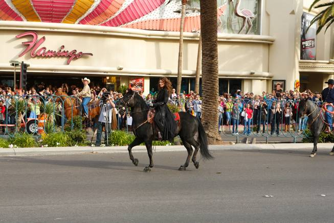 Shania Twain makes her grand entrance at Caesars Palace on horseback to kick off her two-year residency, Wednesday, Nov. 14, 2012.