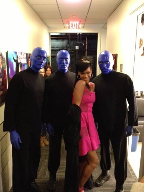 "Monte Carlo headliners Blue Man Group and Rihanna at ""The Ellen DeGeneres Show"" on Wednesday, Nov. 14, 2012."
