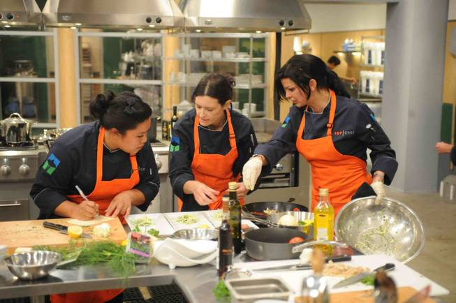 "Carla Pellegrino, right, on Season 10 of Bravo's ""Top Chef."""