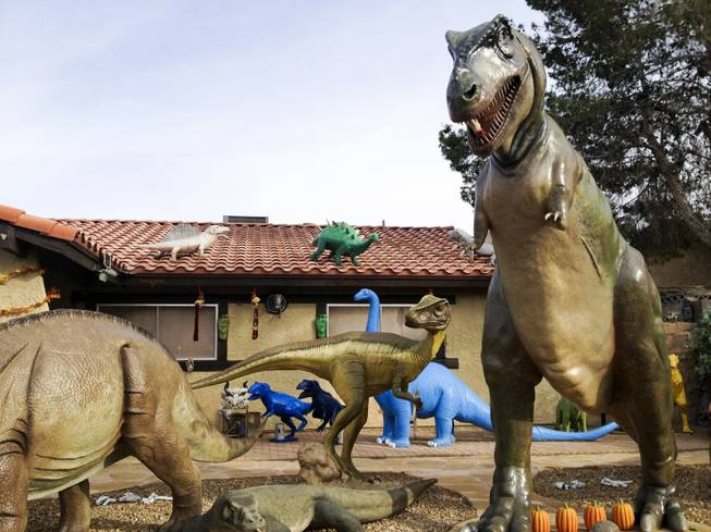 Steve Springers front yard is decked out with dinosaurs, Wednesday, Nov. 14, 2012.