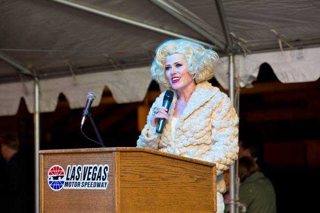 Jayne Post, from Marriage Can Be Murder, hosts the ceremonial opening of the Glittering Lights show at Las Vegas Motor Speedway, Thursday, Nov. 15, 2012.