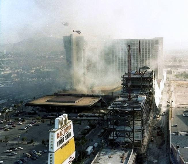 A view of the MGM Grand during the Nov. 21, 1980, fire as seen from the Las Vegas Strip side of the casino.